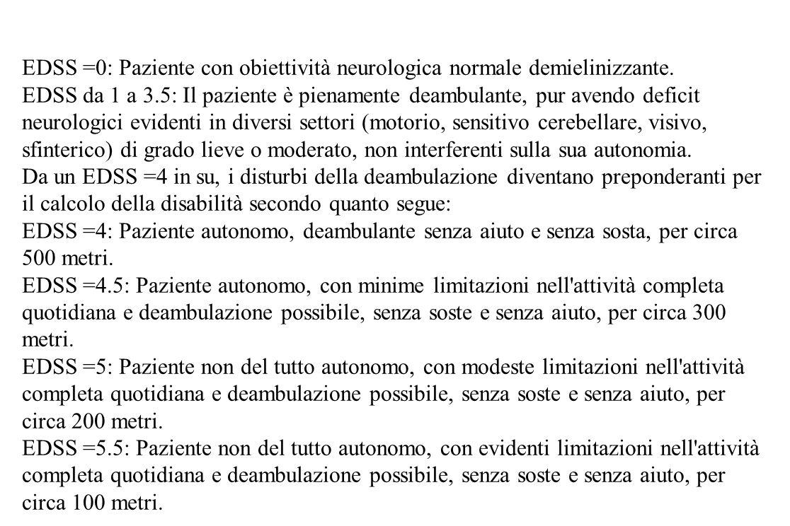 EDSS =0: Paziente con obiettività neurologica normale demielinizzante. EDSS da 1 a 3.5: Il paziente è pienamente deambulante, pur avendo deficit neuro