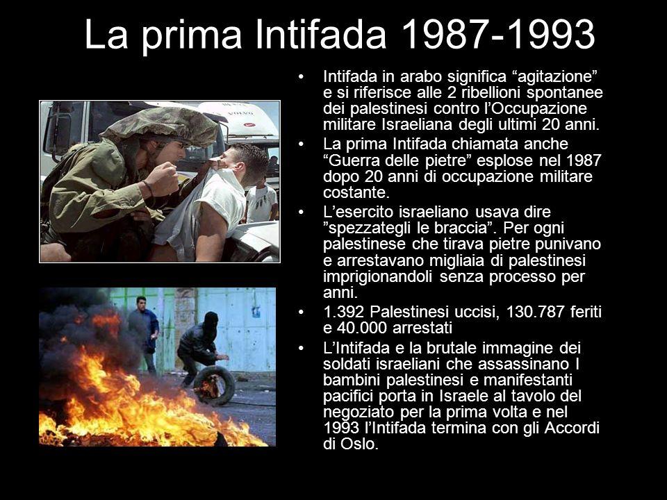 La prima Intifada 1987-1993 Intifada in arabo significa agitazione e si riferisce alle 2 ribellioni spontanee dei palestinesi contro lOccupazione mili