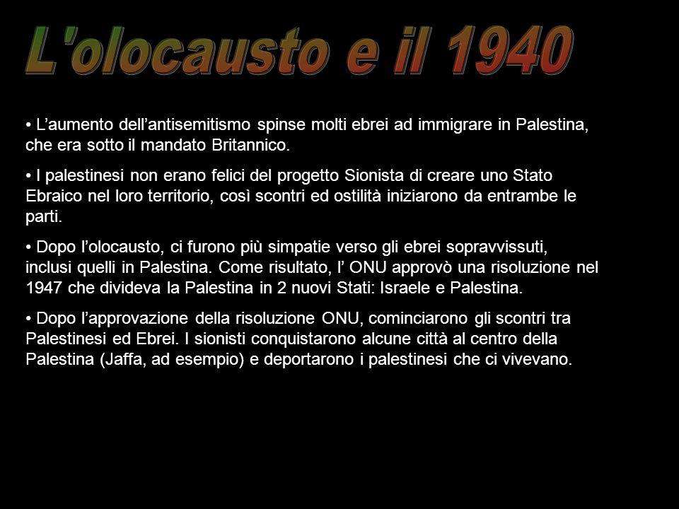 Laumento dellantisemitismo spinse molti ebrei ad immigrare in Palestina, che era sotto il mandato Britannico. I palestinesi non erano felici del proge