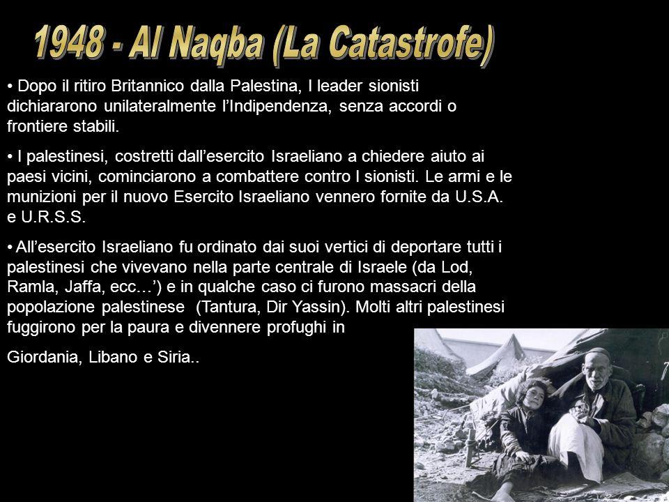 Dopo il ritiro Britannico dalla Palestina, I leader sionisti dichiararono unilateralmente lIndipendenza, senza accordi o frontiere stabili. I palestin