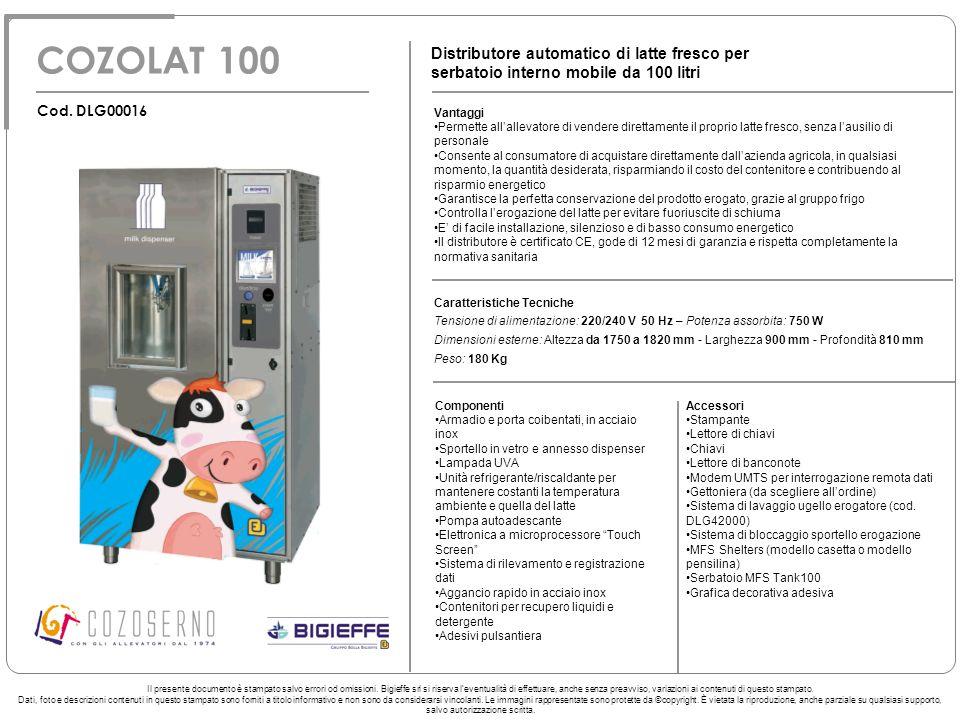 COZOLAT 100 Distributore automatico di latte fresco per serbatoio interno mobile da 100 litri Vantaggi Permette allallevatore di vendere direttamente