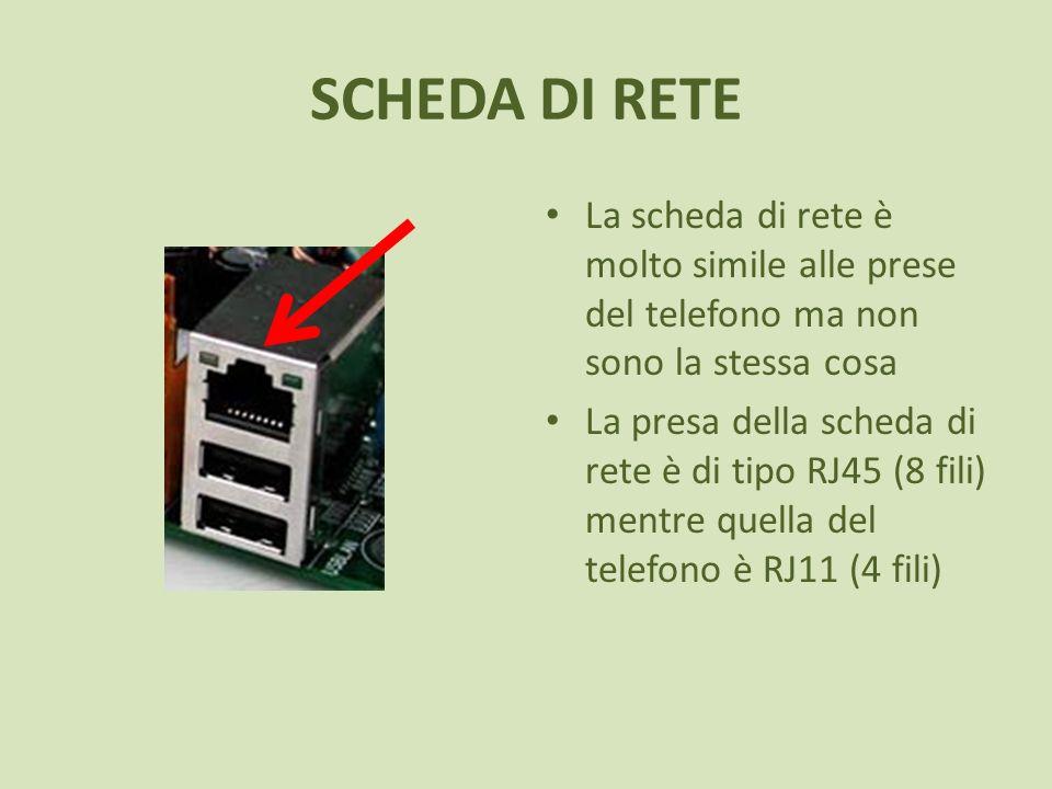 SCHEDA DI RETE La scheda di rete è molto simile alle prese del telefono ma non sono la stessa cosa La presa della scheda di rete è di tipo RJ45 (8 fili) mentre quella del telefono è RJ11 (4 fili)