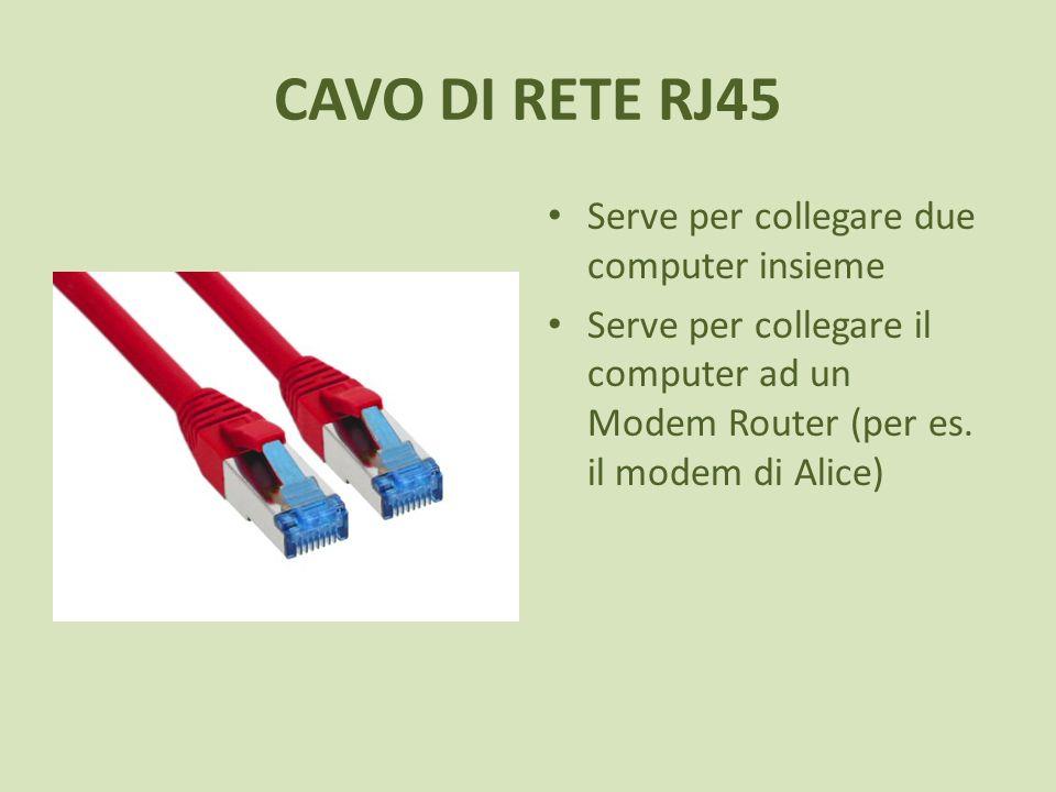 CAVO DI RETE RJ45 Serve per collegare due computer insieme Serve per collegare il computer ad un Modem Router (per es. il modem di Alice)