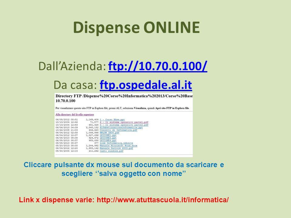 Dispense ONLINE DallAzienda: ftp://10.70.0.100/ftp://10.70.0.100/ Da casa: ftp.ospedale.al.itftp.ospedale.al.it Cliccare pulsante dx mouse sul documen