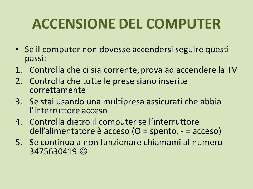 Se il computer non dovesse accendersi seguire questi passi: 1.Controlla che ci sia corrente, prova ad accendere la TV 2.Controlla che tutte le prese s
