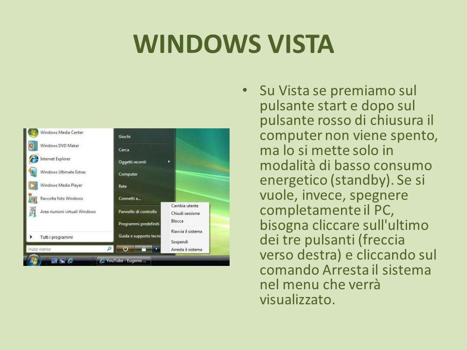 WINDOWS VISTA Su Vista se premiamo sul pulsante start e dopo sul pulsante rosso di chiusura il computer non viene spento, ma lo si mette solo in modalità di basso consumo energetico (standby).