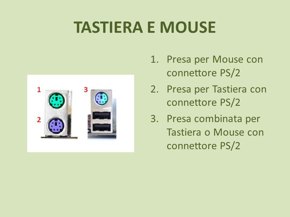 TASTIERA E MOUSE 1.Presa per Mouse con connettore PS/2 2.Presa per Tastiera con connettore PS/2 3.Presa combinata per Tastiera o Mouse con connettore