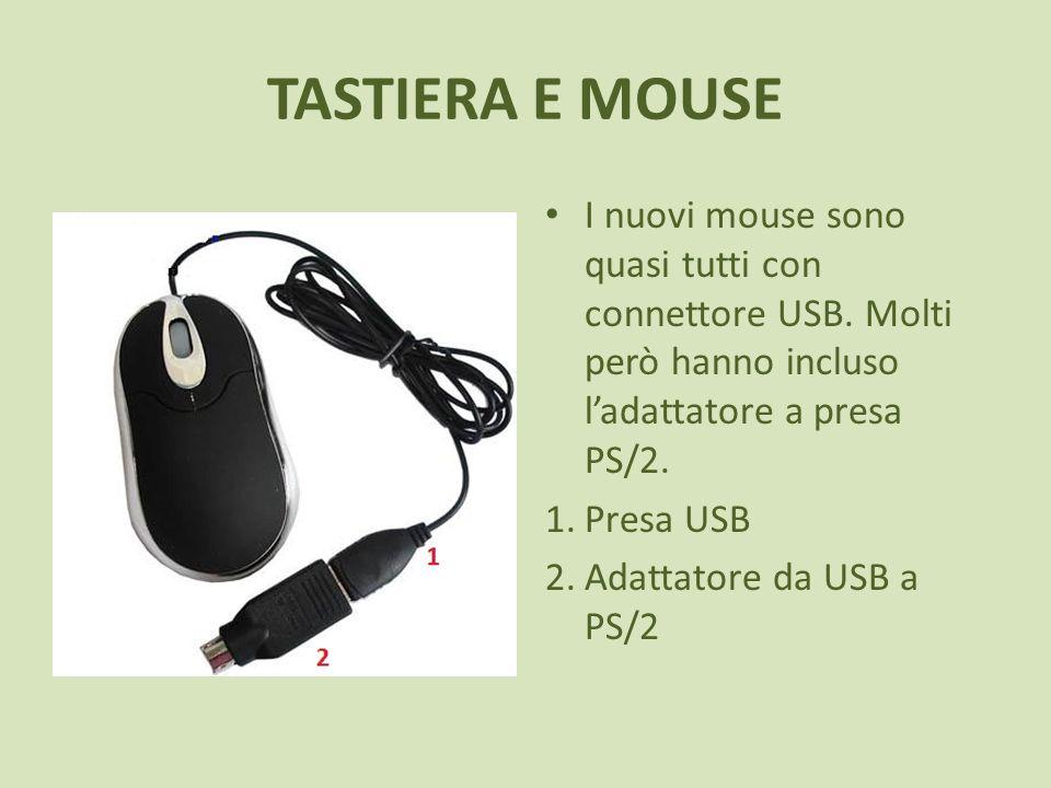 TASTIERA E MOUSE I nuovi mouse sono quasi tutti con connettore USB. Molti però hanno incluso ladattatore a presa PS/2. 1.Presa USB 2.Adattatore da USB