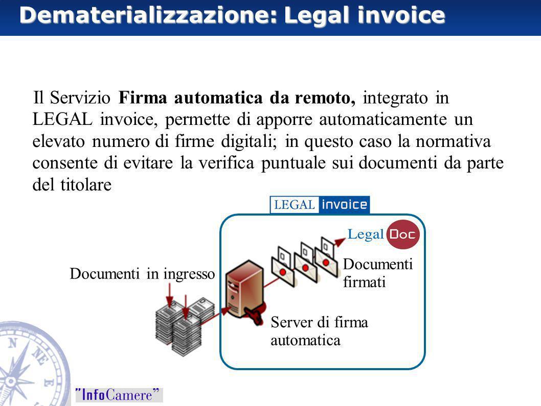 Il Servizio Firma automatica da remoto, integrato in LEGAL invoice, permette di apporre automaticamente un elevato numero di firme digitali; in questo