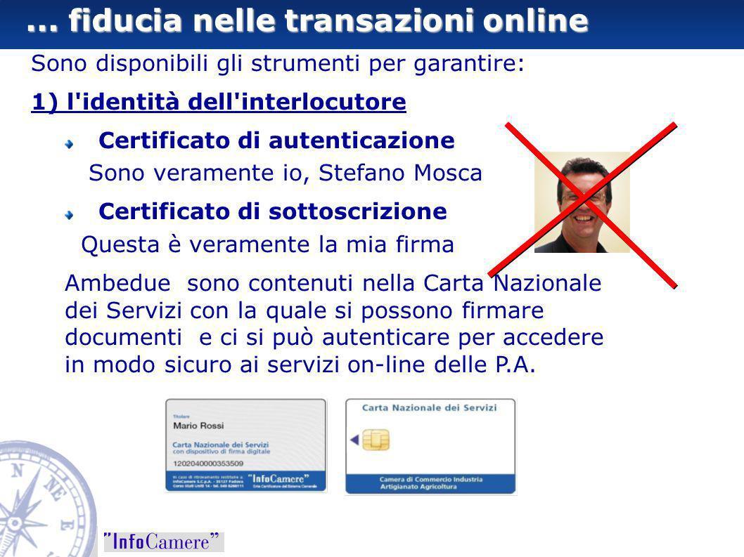 ... fiducia nelle transazioni online Sono disponibili gli strumenti per garantire: 1) l'identità dell'interlocutore Certificato di autenticazione Sono