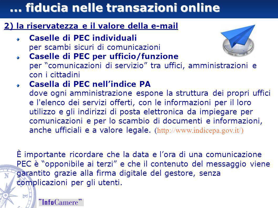... fiducia nelle transazioni online 2) la riservatezza e il valore della e-mail Caselle di PEC individuali per scambi sicuri di comunicazioni Caselle