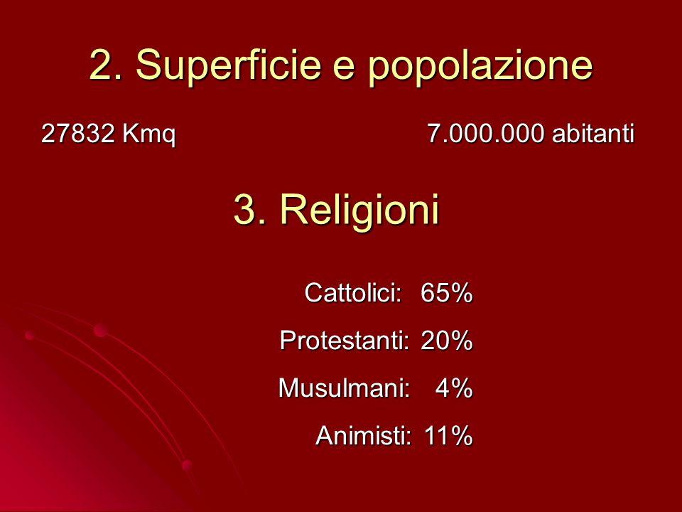 2. Superficie e popolazione 27832 Kmq 7.000.000 abitanti 3. Religioni Cattolici: 65% Protestanti: 20% Musulmani: 4% Animisti: 11%
