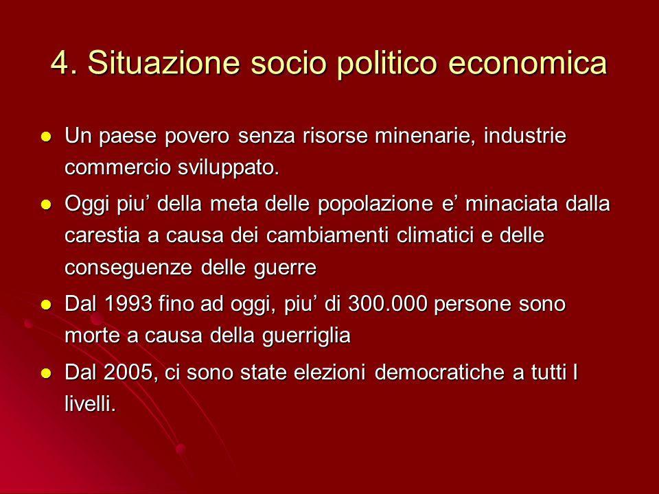 4. Situazione socio politico economica Un paese povero senza risorse minenarie, industrie commercio sviluppato. Un paese povero senza risorse minenari