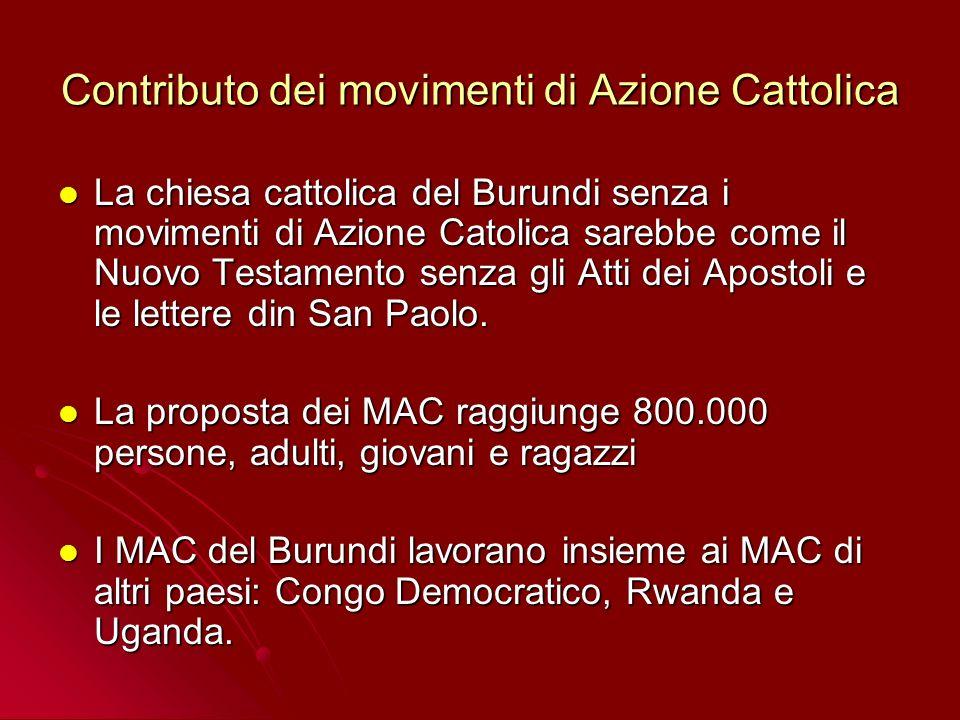Contributo dei movimenti di Azione Cattolica La chiesa cattolica del Burundi senza i movimenti di Azione Catolica sarebbe come il Nuovo Testamento senza gli Atti dei Apostoli e le lettere din San Paolo.