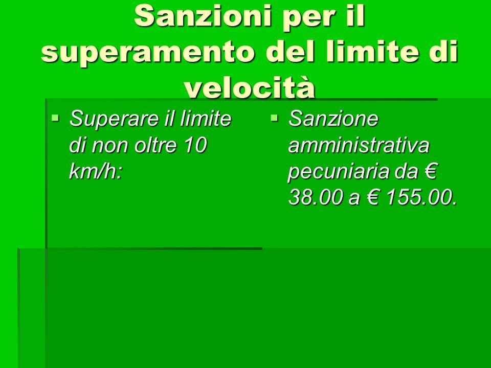 Sanzioni per il superamento del limite di velocità Superare il limite di non oltre 10 km/h: Superare il limite di non oltre 10 km/h: Sanzione amminist