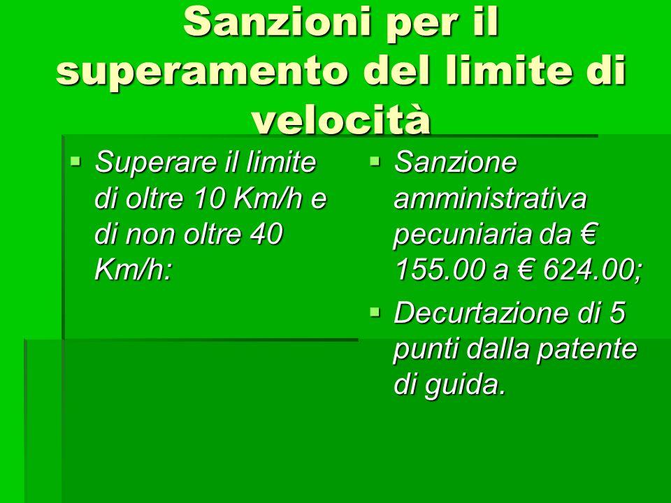 Sanzioni per il superamento del limite di velocità Superare il limite di oltre 10 Km/h e di non oltre 40 Km/h: Superare il limite di oltre 10 Km/h e d