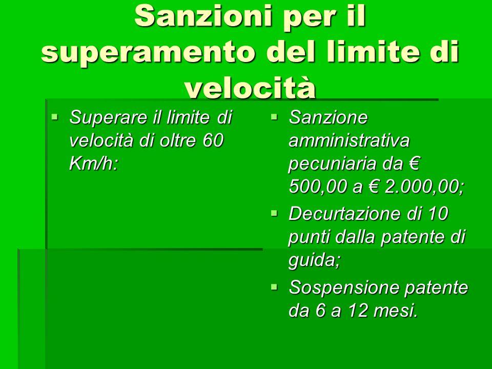 Sanzioni per il superamento del limite di velocità Superare il limite di velocità di oltre 60 Km/h: Superare il limite di velocità di oltre 60 Km/h: S
