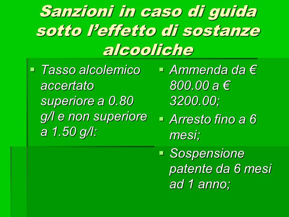 Sanzioni in caso di guida sotto leffetto di sostanze alcooliche Tasso alcolemico accertato superiore a 0.80 g/l e non superiore a 1.50 g/l: Tasso alco
