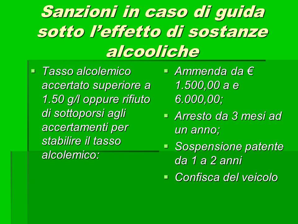 Sanzioni in caso di guida sotto leffetto di sostanze alcooliche Tasso alcolemico accertato superiore a 1.50 g/l oppure rifiuto di sottoporsi agli acce