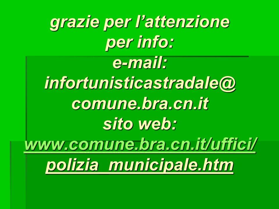 grazie per lattenzione per info: e-mail: infortunisticastradale@ comune.bra.cn.it sito web: www.comune.bra.cn.it/uffici/ polizia_municipale.htm www.co