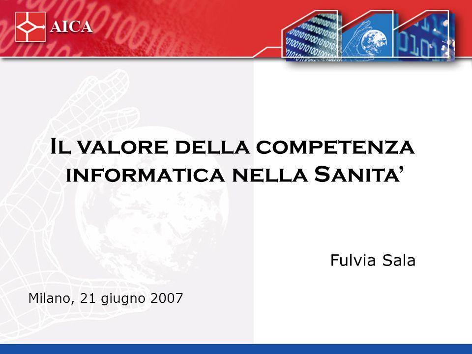 Il valore della competenza informatica nella Sanita Fulvia Sala Milano, 21 giugno 2007