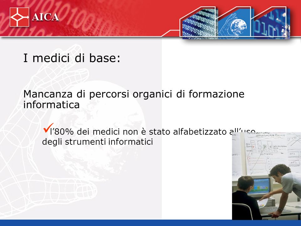 I medici di base: Mancanza di percorsi organici di formazione informatica l80% dei medici non è stato alfabetizzato alluso degli strumenti informatici