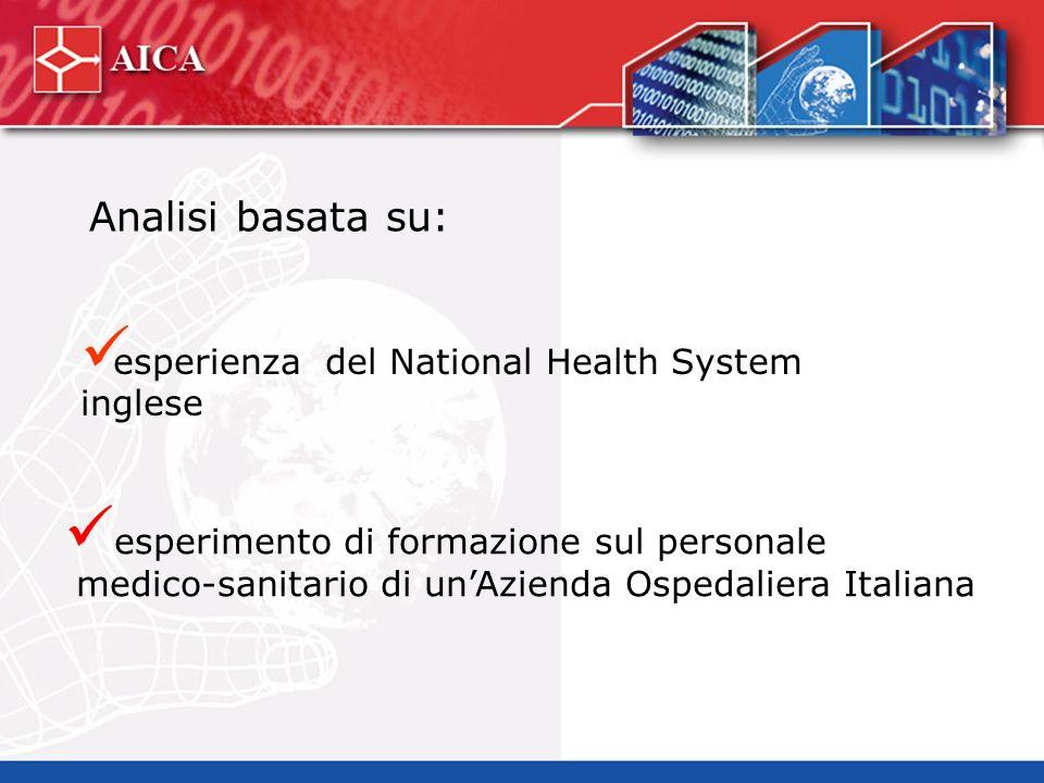esperienza del National Health System inglese esperimento di formazione sul personale medico-sanitario di unAzienda Ospedaliera Italiana Analisi basata su: