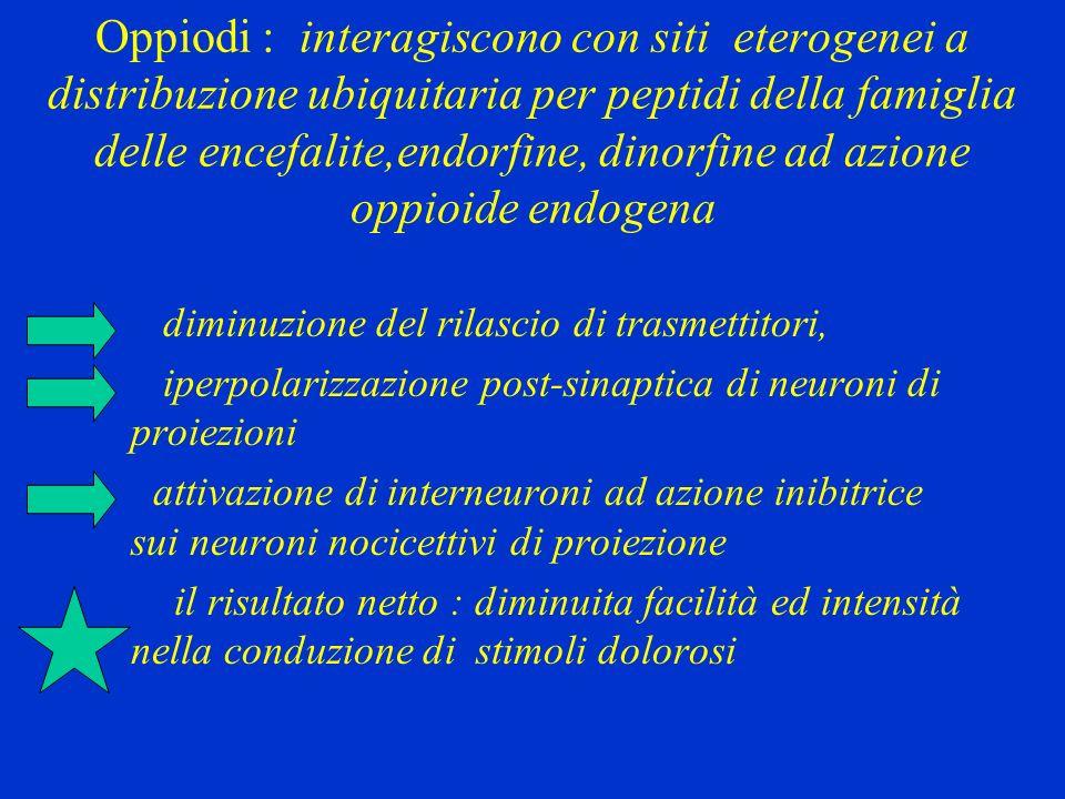 Oppiodi : interagiscono con siti eterogenei a distribuzione ubiquitaria per peptidi della famiglia delle encefalite,endorfine, dinorfine ad azione opp
