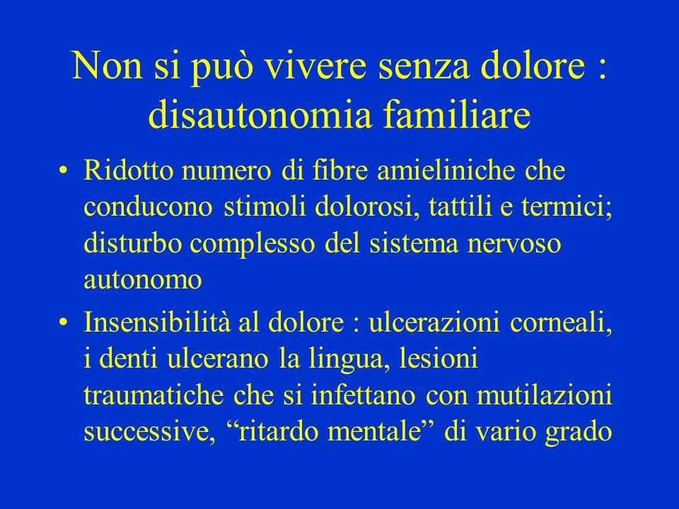 Non si può vivere senza dolore : disautonomia familiare Ridotto numero di fibre amieliniche che conducono stimoli dolorosi, tattili e termici; disturb