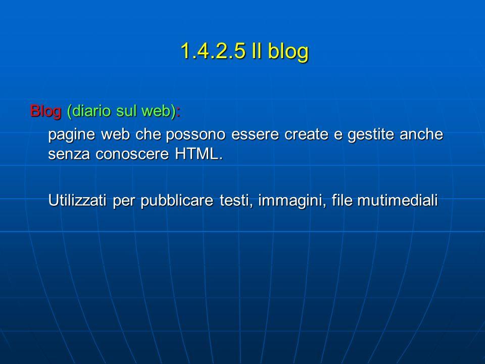 1.4.2.5 Il blog Blog (diario sul web): pagine web che possono essere create e gestite anche senza conoscere HTML. Utilizzati per pubblicare testi, imm