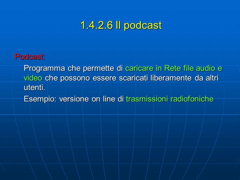 1.4.2.6 Il podcast Podcast: Programma che permette di caricare in Rete file audio e video che possono essere scaricati liberamente da altri utenti.