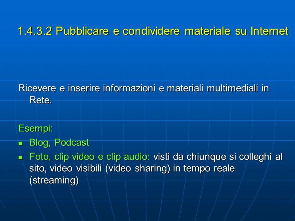 1.4.3.2 Pubblicare e condividere materiale su Internet Ricevere e inserire informazioni e materiali multimediali in Rete. Esempi: Blog, Podcast Blog,