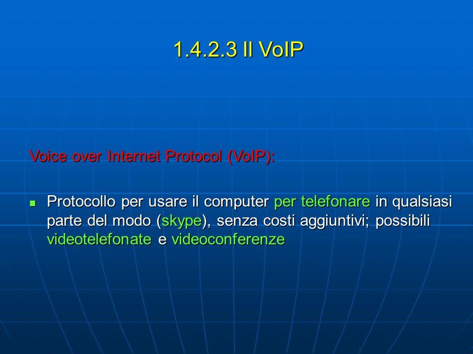 1.4.2.3 Il VoIP Voice over Internet Protocol (VoIP): Protocollo per usare il computer per telefonare in qualsiasi parte del modo (skype), senza costi aggiuntivi; possibili videotelefonate e videoconferenze Protocollo per usare il computer per telefonare in qualsiasi parte del modo (skype), senza costi aggiuntivi; possibili videotelefonate e videoconferenze