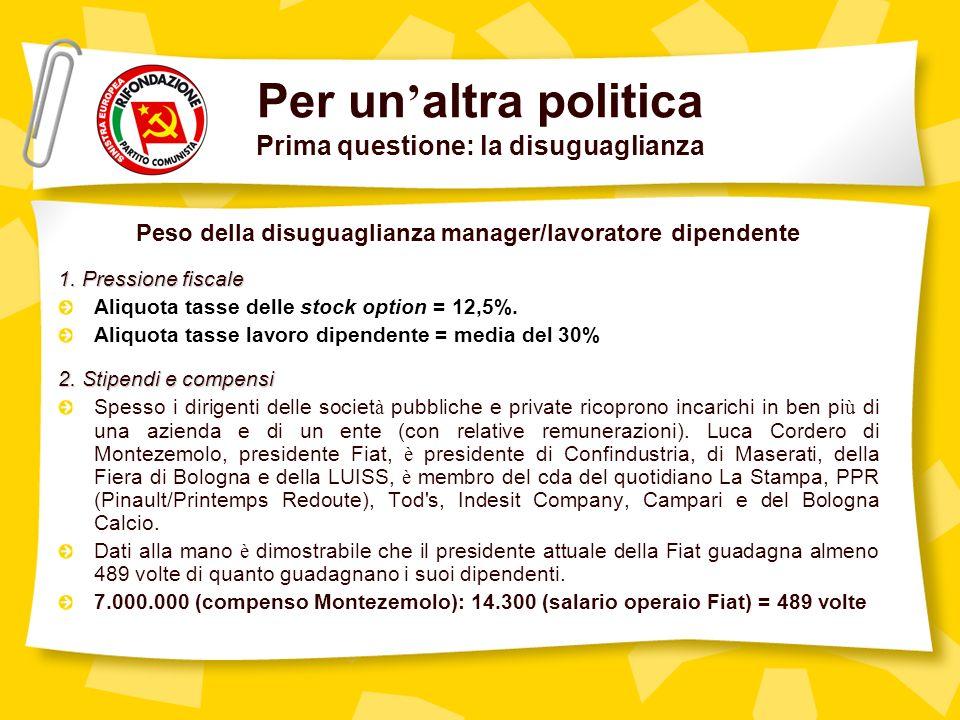 Per un altra politica Prima questione: la disuguaglianza Peso della disuguaglianza manager/lavoratore dipendente 1.