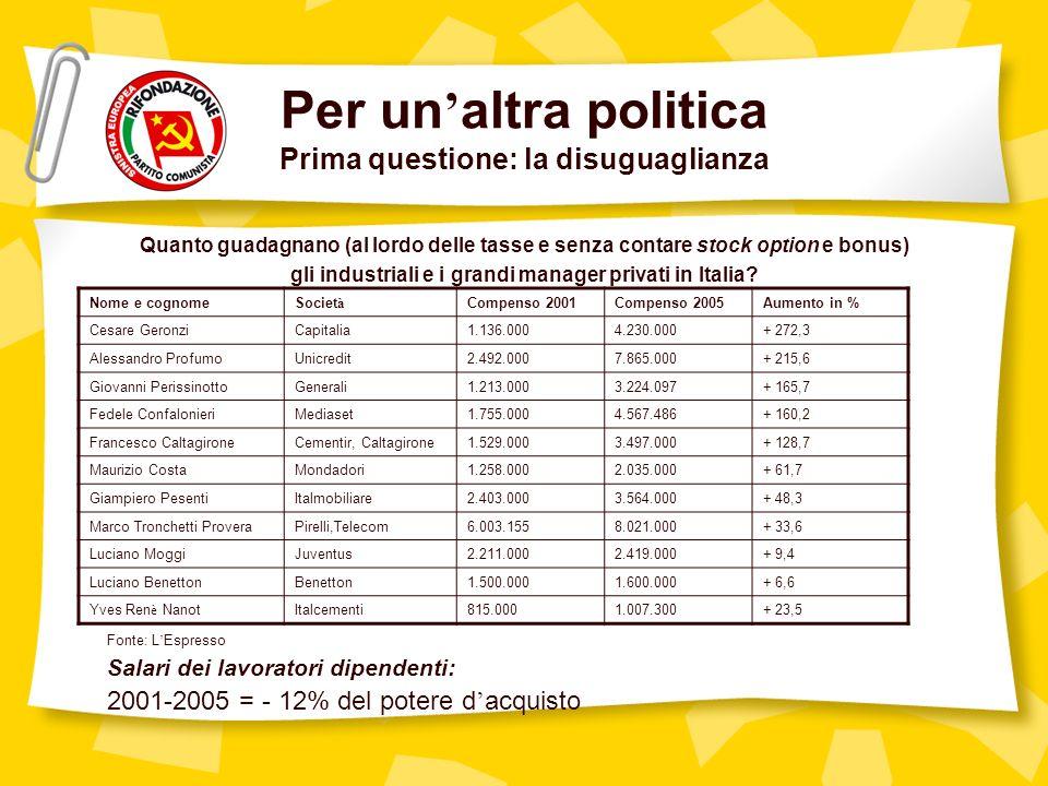 Per un altra politica Prima questione: la disuguaglianza Quanto guadagnano (al lordo delle tasse e senza contare stock option e bonus) gli industriali e i grandi manager privati in Italia.
