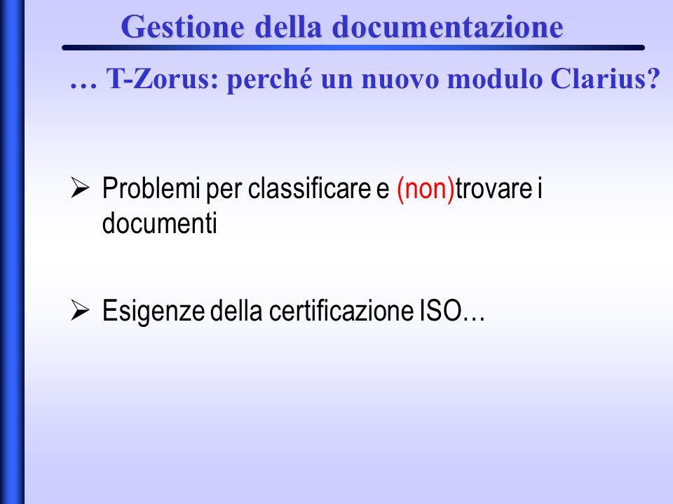 Gestione della documentazione Problemi per classificare e (non)trovare i documenti Esigenze della certificazione ISO… … T-Zorus: perché un nuovo modulo Clarius