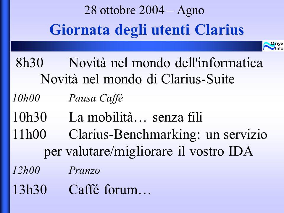 Giornata degli utenti Clarius 8h30Novità nel mondo dell informatica Novità nel mondo di Clarius-Suite 10h00Pausa Caffé 10h30La mobilità… senza fili 11h00 Clarius-Benchmarking: un servizio per valutare/migliorare il vostro IDA 12h00Pranzo 13h30Caffé forum… 28 ottobre 2004 – Agno