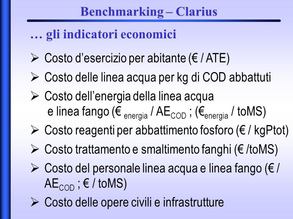 Benchmarking – Clarius Costo desercizio per abitante ( / ATE) Costo delle linea acqua per kg di COD abbattuti Costo dellenergia della linea acqua e linea fango ( energia / AE COD ; ( energia / toMS) Costo reagenti per abbattimento fosforo ( / kgPtot) Costo trattamento e smaltimento fanghi ( /toMS) Costo del personale linea acqua e linea fango ( / AE COD ; / toMS) Costo delle opere civili e infrastrutture … gli indicatori economici