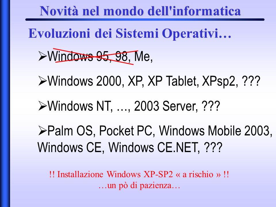 Novità nel mondo dell'informatica Evoluzioni dei Sistemi Operativi… Windows 95, 98, Me, Windows 2000, XP, XP Tablet, XPsp2, ??? Windows NT, …, 2003 Se