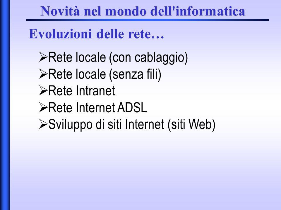 Novità nel mondo dell'informatica Evoluzioni delle rete… Rete locale (con cablaggio) Rete locale (senza fili) Rete Intranet Rete Internet ADSL Svilupp