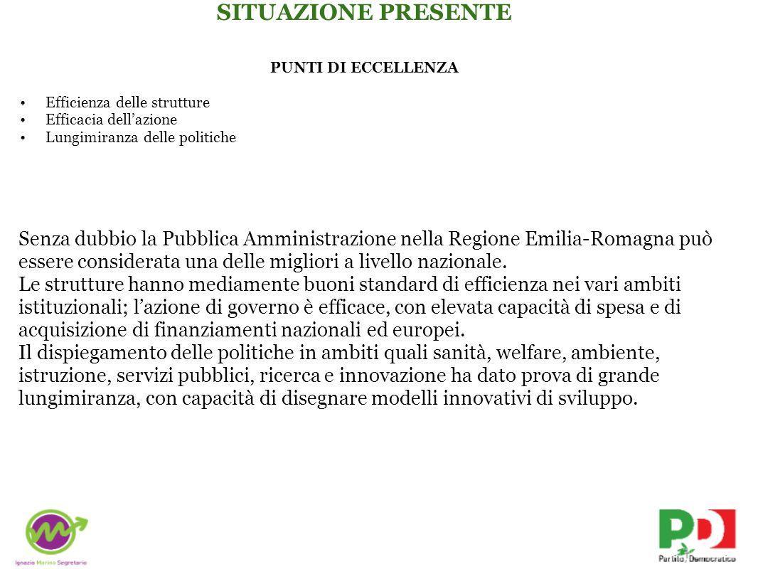 PUNTI DI ECCELLENZA Efficienza delle strutture Efficacia dellazione Lungimiranza delle politiche Senza dubbio la Pubblica Amministrazione nella Regione Emilia-Romagna può essere considerata una delle migliori a livello nazionale.