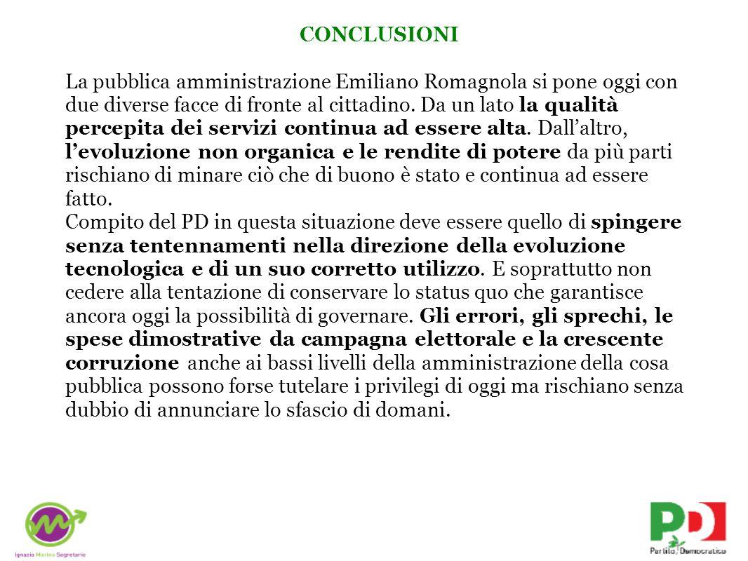 CONCLUSIONI La pubblica amministrazione Emiliano Romagnola si pone oggi con due diverse facce di fronte al cittadino.