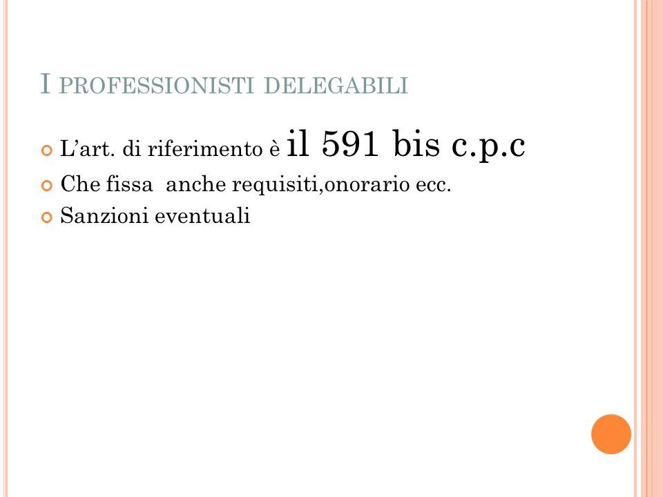 I PROFESSIONISTI DELEGABILI Lart.