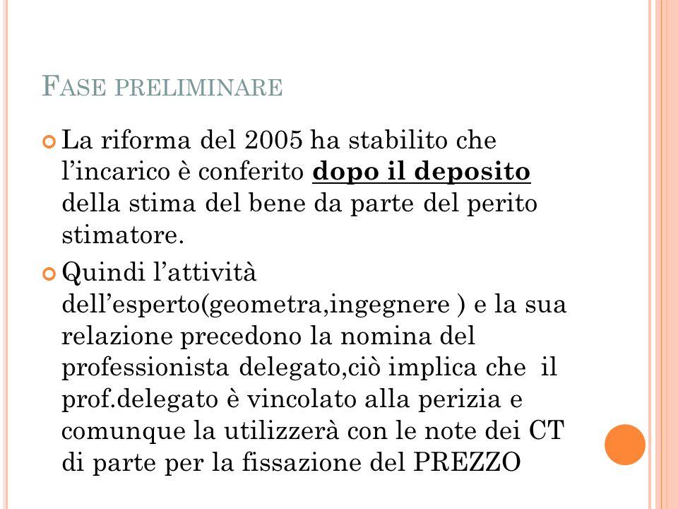 F ASE PRELIMINARE La riforma del 2005 ha stabilito che lincarico è conferito dopo il deposito della stima del bene da parte del perito stimatore.