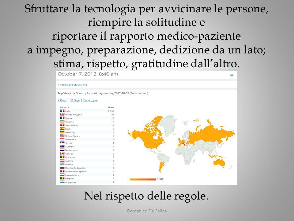 Domenico De Felice Sfruttare la tecnologia per avvicinare le persone, riempire la solitudine e riportare il rapporto medico-paziente a impegno, preparazione, dedizione da un lato; stima, rispetto, gratitudine dallaltro.