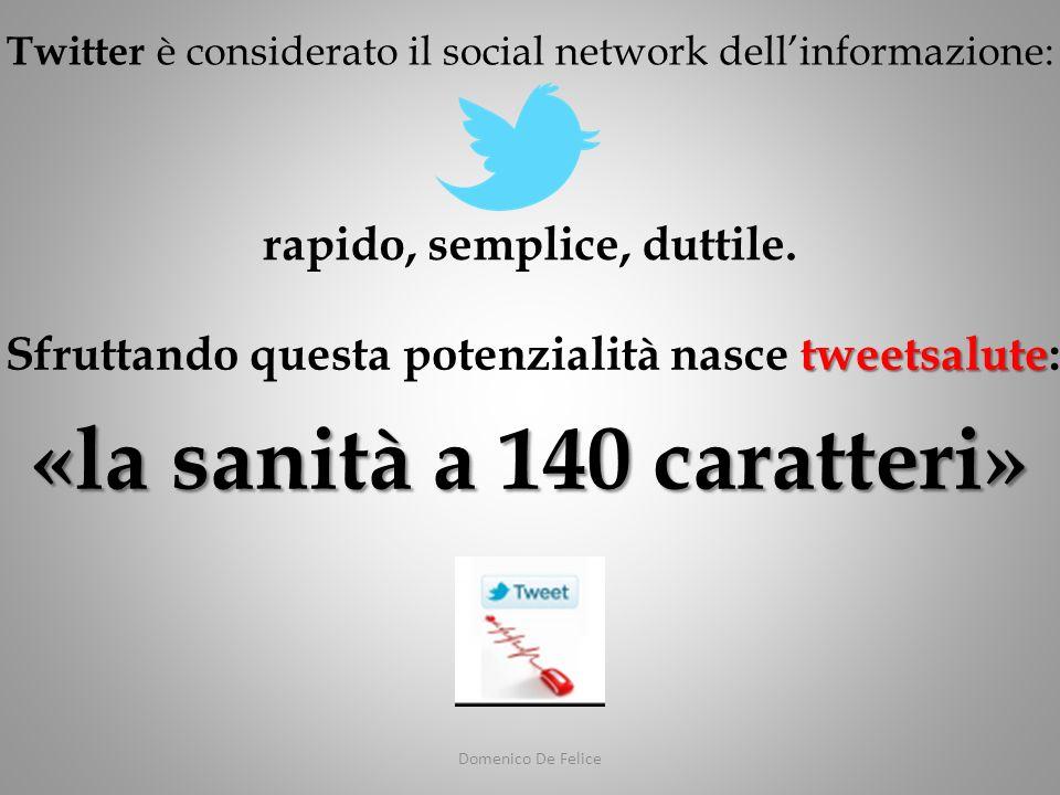 Domenico De Felice tweetsalute Sfruttando questa potenzialità nasce tweetsalute: Twitter è considerato il social network dellinformazione: rapido, semplice, duttile.
