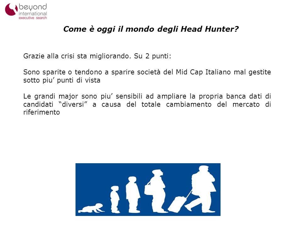 11 Come è oggi il mondo degli Head Hunter? Grazie alla crisi sta migliorando. Su 2 punti: Sono sparite o tendono a sparire società del Mid Cap Italian