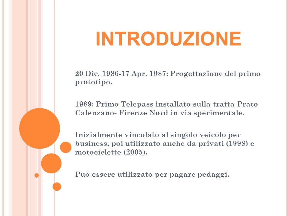 INTRODUZIONE 20 Dic.1986-17 Apr. 1987: Progettazione del primo prototipo.