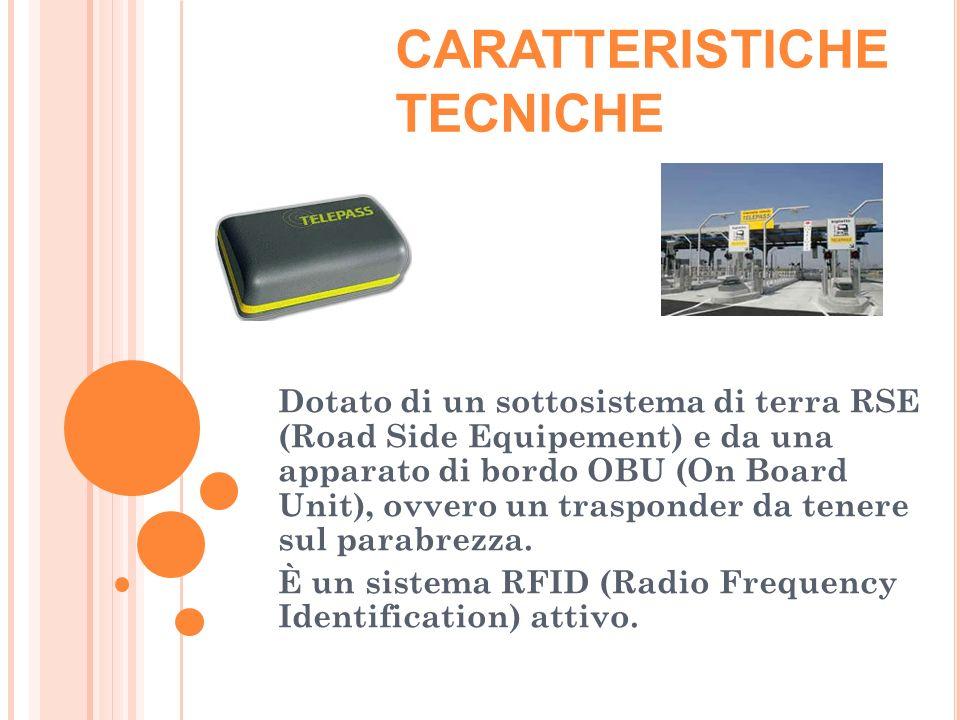 CARATTERISTICHE TECNICHE Dotato di un sottosistema di terra RSE (Road Side Equipement) e da una apparato di bordo OBU (On Board Unit), ovvero un trasponder da tenere sul parabrezza.