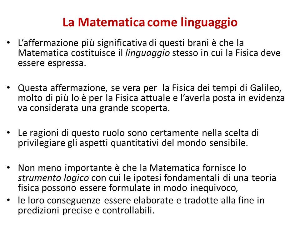 La Matematica come linguaggio Laffermazione più significativa di questi brani è che la Matematica costituisce il linguaggio stesso in cui la Fisica de